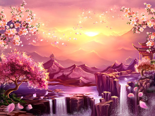 Oriental background, digital art. Illustration of a mountain dawn landscape with sakura blossoms. Can be used as location for games, greeting cards or illustration for books