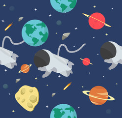 Astronaut  in space flat design pattern