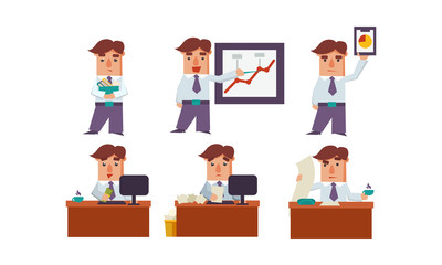 Flat vector set of office worker in different actions. Businessman in formal clothes. Clerk at workplace