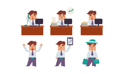 Flat vector set of man office worker in various situations. Manager of company. Employee at workplace