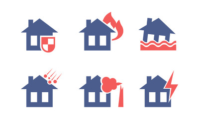 Set of icons related to house insurance theme. Property protection. Flat vector for mobile app interface or advertising poster