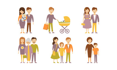 Flat vector set of family portraits. Parents with newborn, mother with son, man with baby, young couple