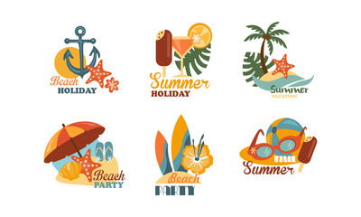Flat vector set of emblems related to summer holiday theme. Elements for beach party poster
