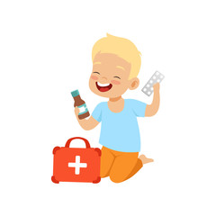 Little boy playing with medical supplies, kid in dangerous situation vector Illustration on a white background