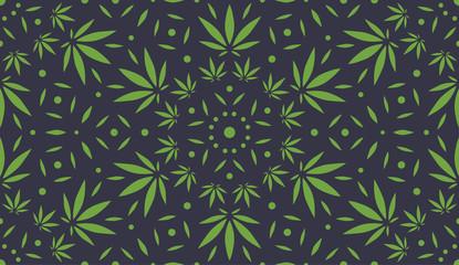 Cannabis Background. Vector Pattern.