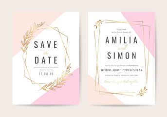 Wall Mural - Wedding invitation cards with marble texture background and gold geometric  line design vector.