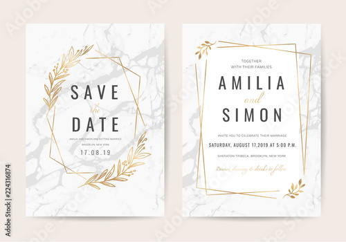Wedding Invitation Cards With Marble Texture Background And Gold