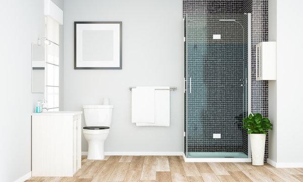 blank frame mockup on minimal grey bathroom