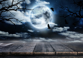 Spooky horror background with empty wooden planks