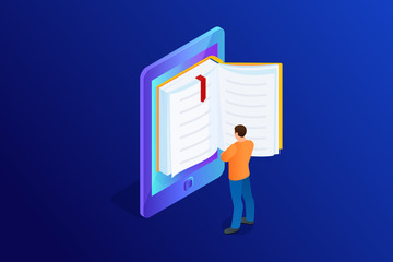 Isometric concept of e-book.