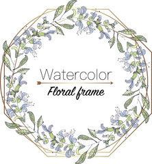 watercolor floral wreath with geometric frame, template for wedding invitation vector illustration