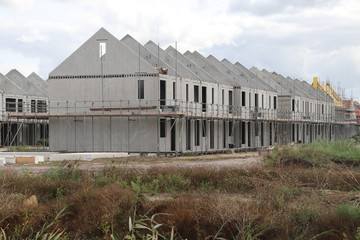Construction of new houses in the Koningskwartier district of Zevenhuizen, the Netherlands.