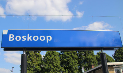 Name sign on the station Boskoop on the R-Net train between Gouda and Alphen aan den Rijn which is famous by lot of delay