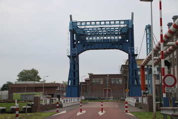Blue bridge with pipes for city heating at the Keulsekade in Utrecht in the Netherlands.