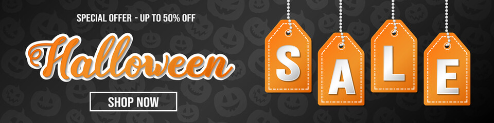Halloween Sale - panoramic header with pumkins pattern. Vector.