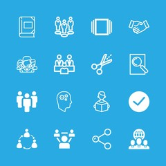 friendship icons set with albums, teamwork and group vector set