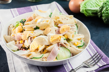 Macaroni salad with ham and other