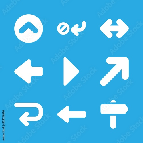 Right Icons Set With Curved Arrow Pointing Prohibition Symbol Up Circular Button And Left