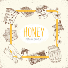 Hand drawn apiary objects arranged in square frame composition. Beekeeping inventory in sketch style. Vector Illustration.