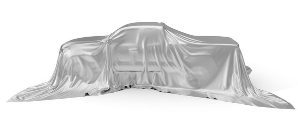 silver silk covered Pickup truck concept. 3d illustration