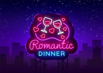 Romantic Dinner Neon Logo Vector. Wine neon sign, design template, modern trend design, night neon signboard, night light advertising, light banner, light art. Vector illustration. Billboard