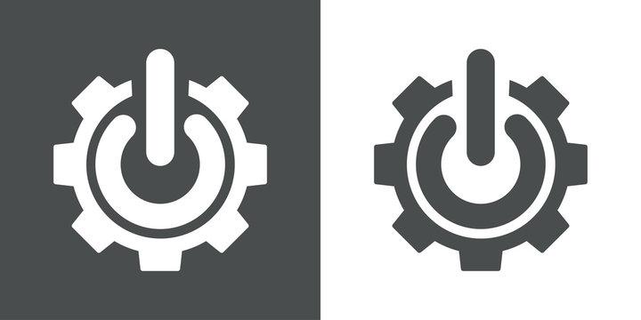 Icono plano engranaje con símbolo start en gris y blanco