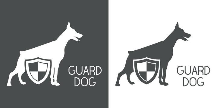 Logotipo GUARD DOG con doberman y escudo en gris y blanco