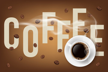 Filled coffee cup and coffee beans with description. 3d vector illustration