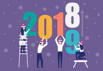 Business people preparing for New Year with Santa hats.Men and women building a numbers 2019, in flat modern style. Team work, get ready for Christmas.