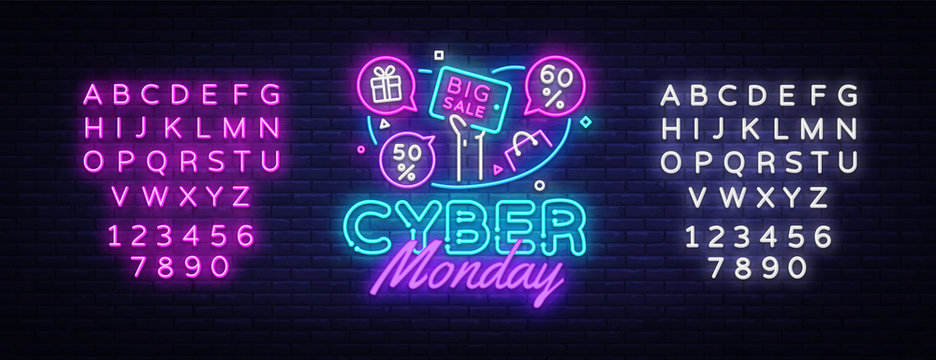 Cyber Monday Sale neon banner vector design template. Cyber Monday Big discounts neon logo, light banner design element colorful modern design trend, bright sign. Vector. Editing text neon sign