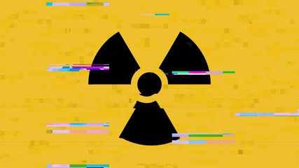 A radiation warning symbol (shown near radioactive materials i.e. nuclear plants, toxic waste dumps), with a heavy digital glitch and noise effect.