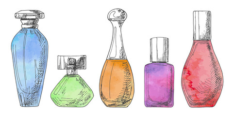 Set of different bottles of perfume. Vector illustration of a sketch style. Stylized watercolor. Fototapete