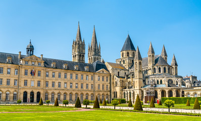 The city hall and the Abbey of Saint-Etienne in Caen, France
