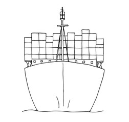 Sketch of cargo ship isolated on white background.