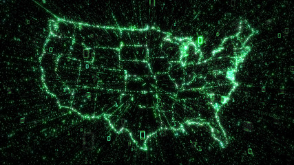 Green binary data explosion from map of USA illustrating Big Data
