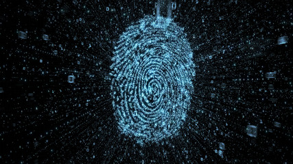Digital fingerprint with streams of binary data illustrating concept of online security