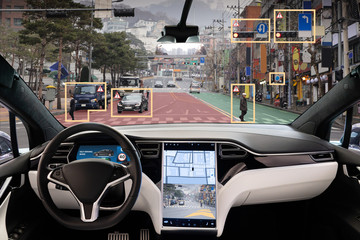 Autonomous car with HUD (Head Up Display). Self-driving vehicle on city street