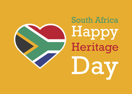 Heritage Day vector. The flag of South Africa. Happy Heritage Day background. South Africa flag heart. Important day
