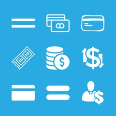 9 pay icons with dollar symbol and coins in this set