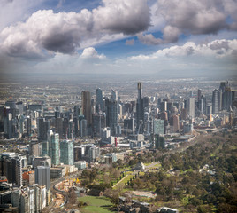 Melbourne aerial city view with Shrine of Remembrance and skyscrapers