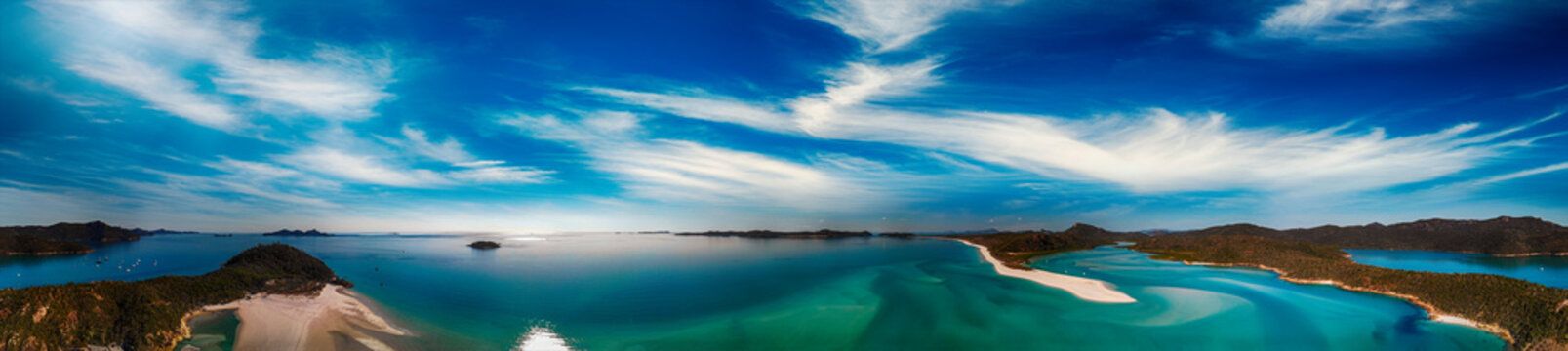 Whitehaven Beach, Queensland. Sunset panoramic aerial view from drone prospective