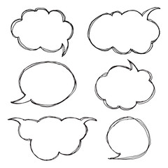 Think talk speech bubbles. Artistic collection of hand drawn doodle style comic balloon, cloud and heart. Vector illustration in sketch style.