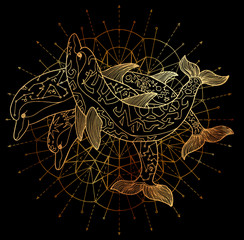 Three golden dolphins and round circle pattern on black background. Esoteric, occult, new age and wicca concept, fantasy illustration with mystic symbols and sacred geometry