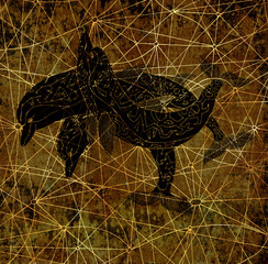 Black silhouettes of three decorated dolphins on grunge textured background. Esoteric, occult, new age and wicca concept, fantasy illustration with mystic symbols and sacred geometry