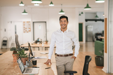 Smiling Asian businessman standing by his desk in an office