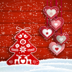 Christmas still-life with hearts and simple red tree