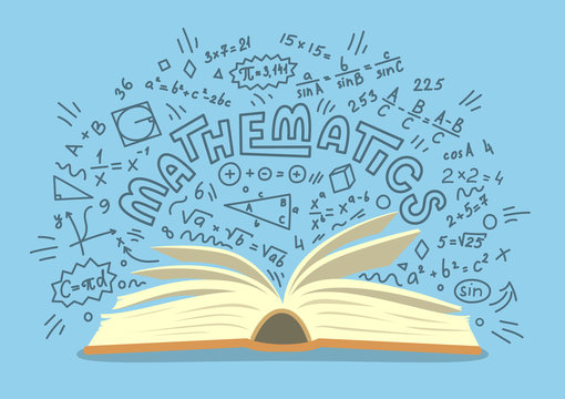 Mathematics. Open book with math doodles on blue background. Education vector illustration.