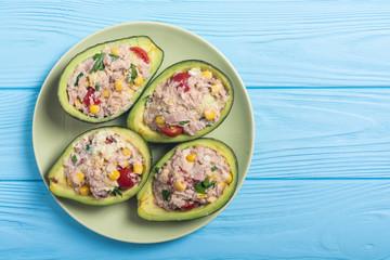 Avocado stuffed with salad