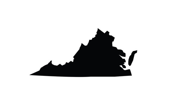 Virginia outline map black USA state borders black vector illustration
