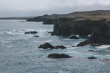 dramatic shot of rocky ocean coast in Iceland under cloudy sky